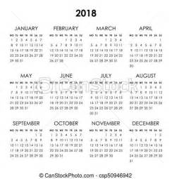 calendar 2018 year calendar for 2018 year isolated on a