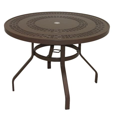 marco island 36 in brownstone round commercial fiberglass top bar height patio dining table