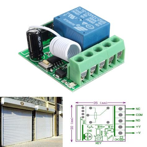 12v Relay 1ch Wireless Rf Remote Switch Transmitter Receiver Dc 12v 1ch Wireless Relay Rf Remote Switch Receiver Transmitter 433mhz Ebay