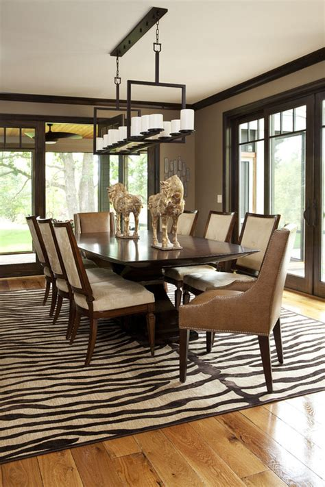 modern dining room rugs zebra rug in dining room design by minneapolis interior