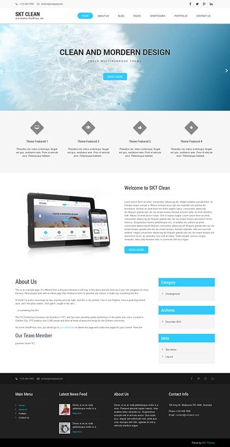 free clean wordpress theme for clean designed websites
