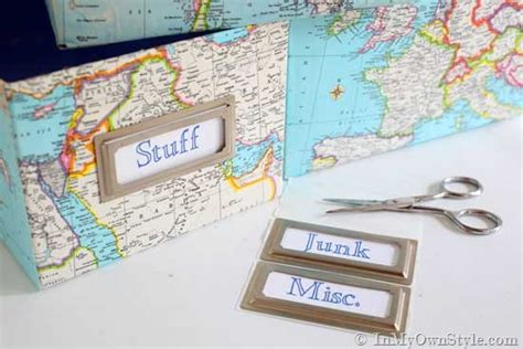 Decoupage Shoebox - map covered shelf organizing using shoeboxes decoupage