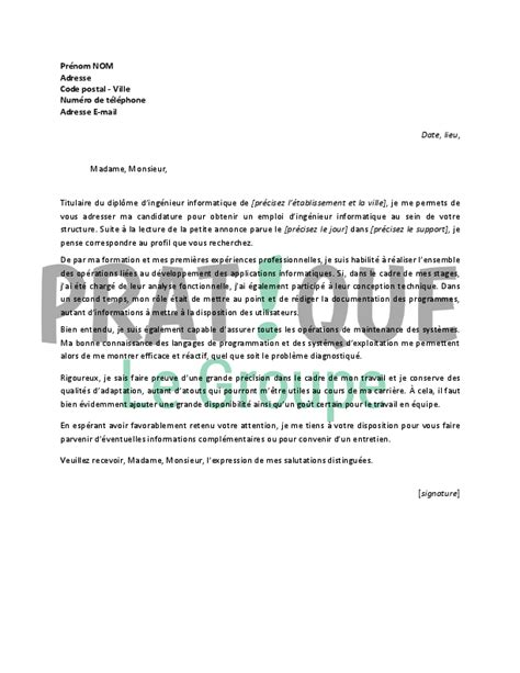 Exemple Lettre De Motivation Informatique Lettre De Motivation Pour Un Emploi D Ing 233 Nieur