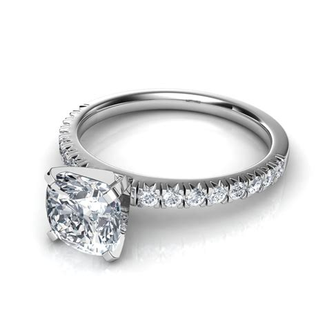 thin cut pave cushion cut engagement ring in platinum