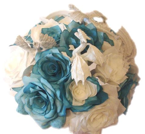 rose themed paper unique dragon themed bouquet made of teal and white