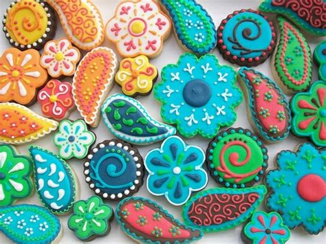 cookie designs colorful paisley cookies
