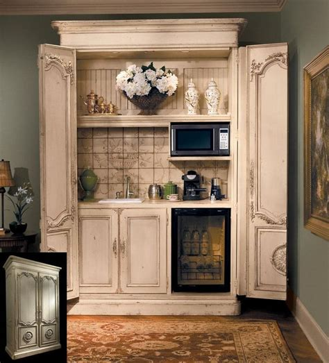 master bedroom coffee station armoire makeover with small microwave outlet for coffee