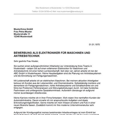 Bewerbung Anschreiben Muster Maschinen Und Anlagenfuhrer Bewerbung Als Elektroniker F 252 R Maschinen Und Antriebstechnik Elektronikerin F 252 R Maschinen