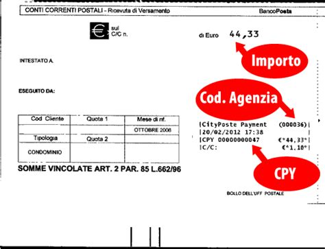 codice identificativo ufficio postale pagamento bollettini formula sicura