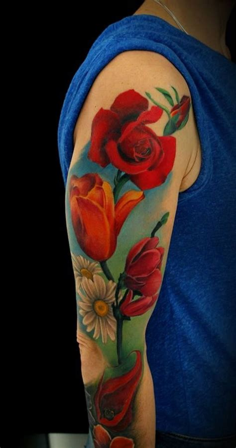 colored tattoos for guys colored flowers sleeve for guys