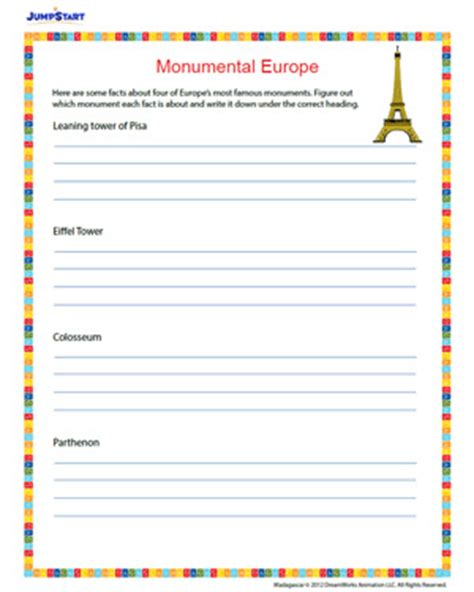 4th grade geography worksheets monumental europe free 4th grade geography worksheet for the monsters