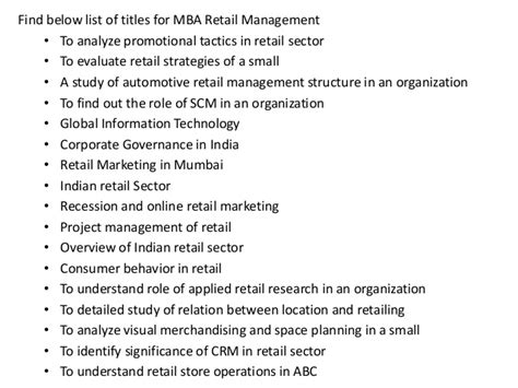 Mba Project Report On Visual Merchandising by Project Report Titles For Mba In Retail Management