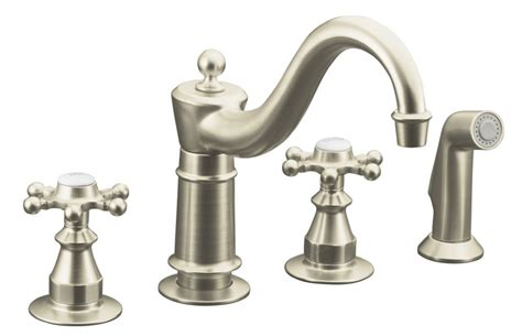 antique kitchen sink faucets kohler antique kitchen sink faucet in vibrant brushed nickel the home depot canada