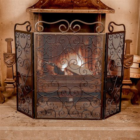 ornate scrolled design screen and spark protector by