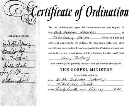 certificate of ordination template template update234