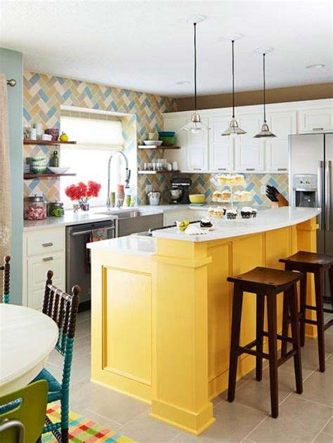 island in kitchen yellow kitchen islands