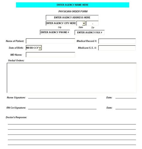 physician order form template physician order form