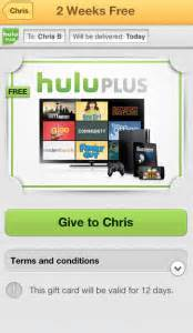 Can I Pay Hulu With A Gift Card - wrapp adds free 2 week hulu plus gift card snipsnap