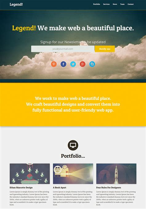 15 Free One Page Html Psd Website Templates Web Photoshop Website Templates