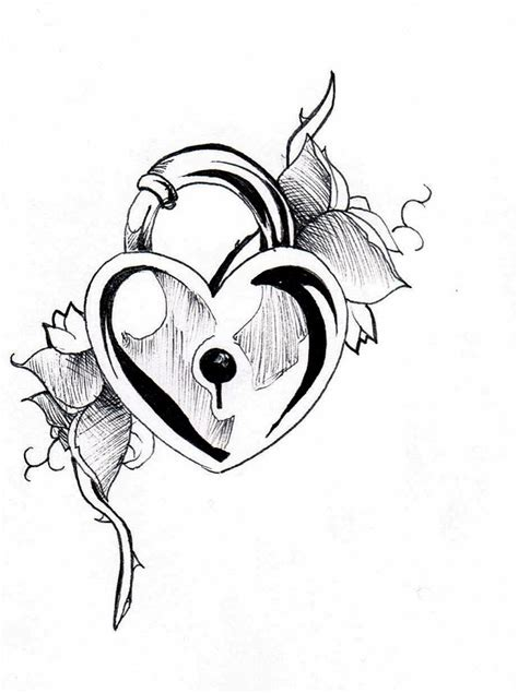 lock and heart tattoo designs sketch drawings of hearts with lock coloring pages
