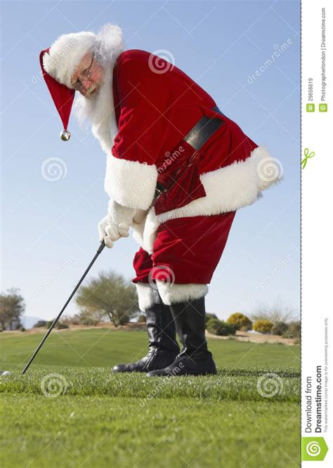santa claus playing golf stock image image of festive