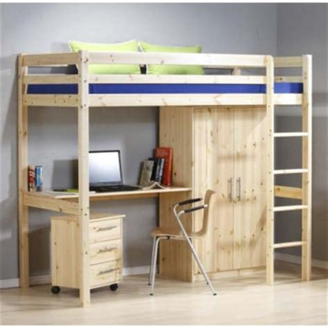 thuka minnie solid pine highsleeper bed with desk