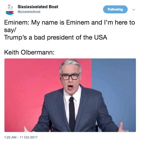 donald trump reacts to eminem keith olbermann reaction image eminem s anti trump bet