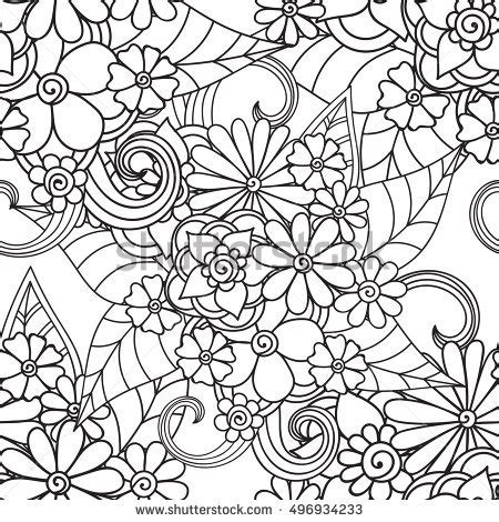 tribal pattern leaf pattern coloring book leaves ethnic floral stock vector