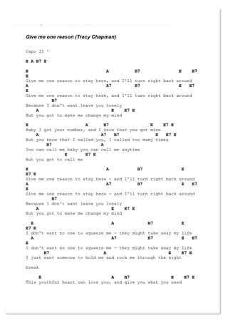 testo just give me a reason give me one reason by tracy chapman guitar chords and