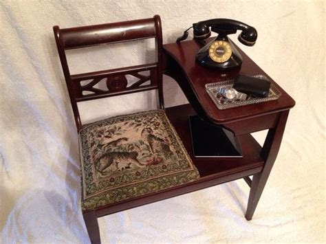 Antique telephone table with seat or gossip bench