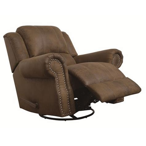 Fabric Swivel Recliner Chairs by Coaster 650153 Brown Fabric Swivel Recliner A Sofa