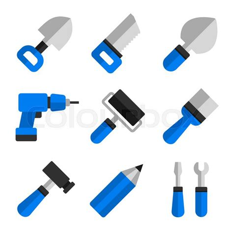 working tools flat icon set stock vector image 40282698 flat style working tools icons set vector illustration