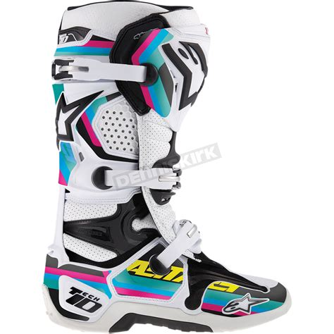 green dirt bike boots alpinestars black cyan magenta water green tech 10 boot