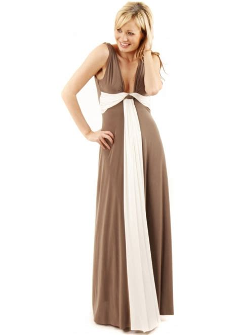 designer draped dresses taupe grecian maxi dress taupe evening dress taupe
