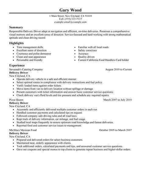 Delivery Driver Sle Resume by Delivery Driver Resume Exles Food Restaurant Resume Exles Livecareer