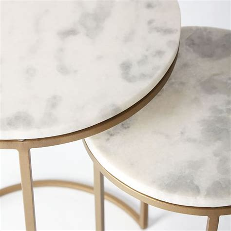 Art Deco Bedroom Furniture round nesting side tables set marble antique brass