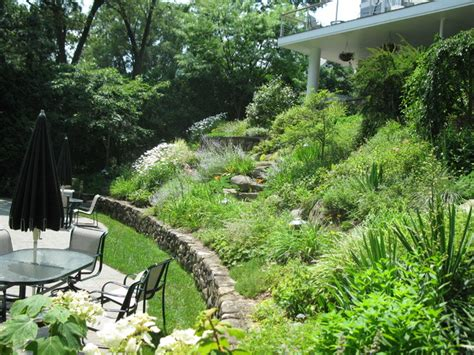 backyard slope landscaping arlington residence steep slope
