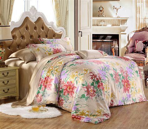 2016 Silk Home Textile Solid Floral Print 19mm 100 Wedding Bedding Set