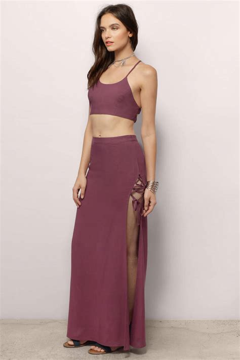Gamis Maxi Dress Overall Sleting trendy plum maxi dress slit dress plum dress maxi dress tobi