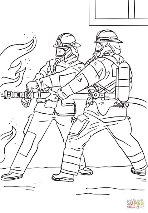 firefighter coloring pages firefighters spraying water coloring page free printable