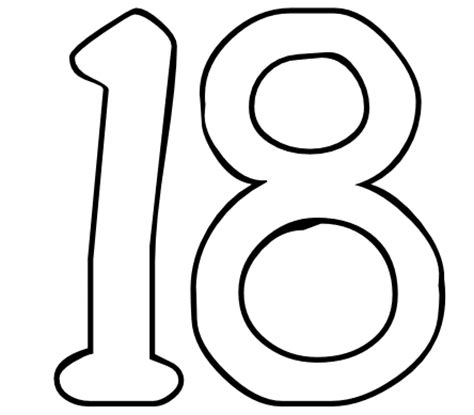 number 18 template page number 18 coloring coloring pages