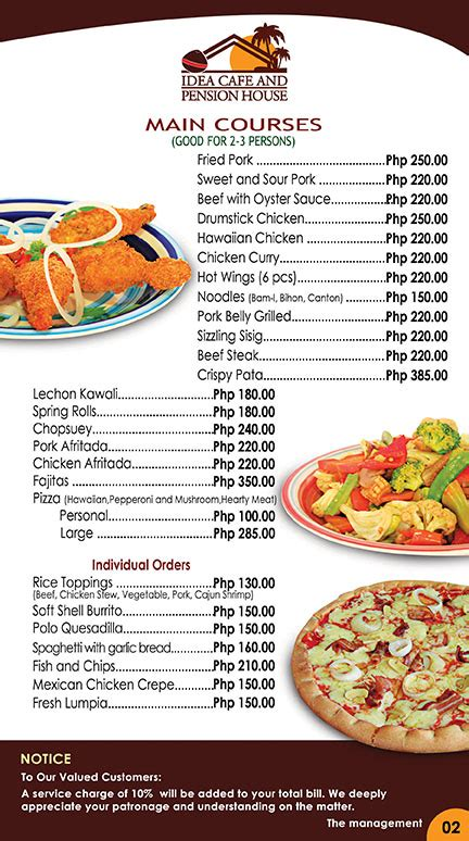 House Design Pictures In The Philippines by Restaurant Menu Idea Pension House And Garden Cafe