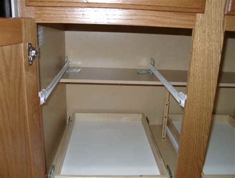 kitchen cabinets sliding shelves custom pull out shelving soultions diy do it yourself