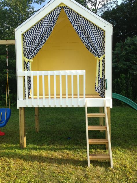 Handmade Wooden Playhouse - playhouse and swing set built by my husband playhouse