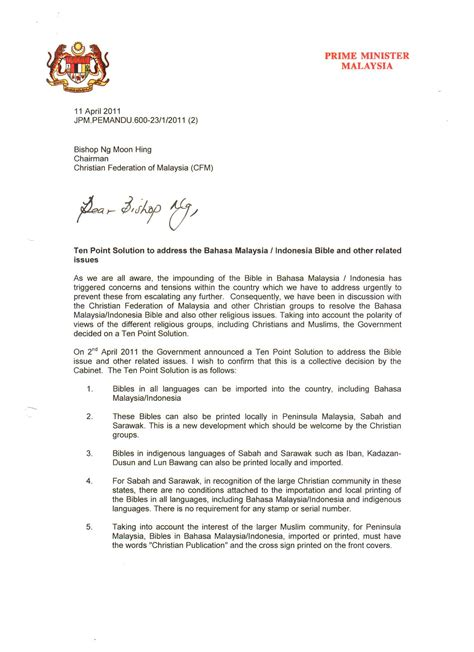 authorization letter bahasa melayu bahasa malaysia bibles the cabinet s 10 point solution