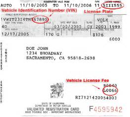 california new car registration sle registration card