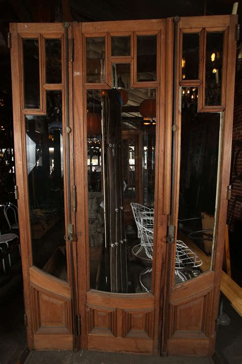 Art Deco Three Door Set With Beveled Glass For Sale At 1stdibs Deco Glass Doors