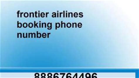 telephone number for frontier airlines alot