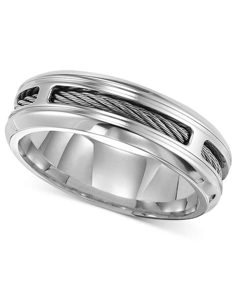 triton comfort fit cable wedding band in metallic for