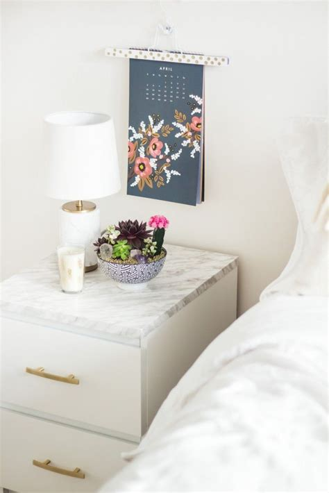 Marble Nightstand by How To With Marble Contact Paper Superior